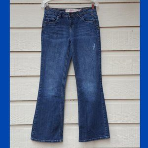 Girls Low Rise Boot Cut Distressed Jeans Blue